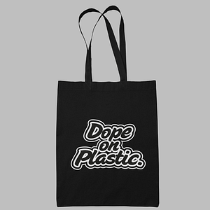 Dope on Plastic – 100% Organic cotton black shopper with logo, white print