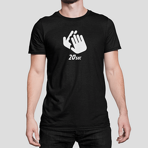 ANTI-VIRUS – T-shirt black, Washing hands 20 sec