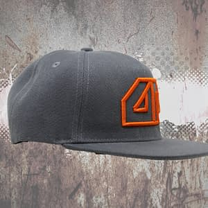 Deepack – Snapback CAP – 3D embroidered Deepack logo – orange on grey