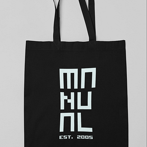 Manual Music – 100% Organic cotton black shopper MANUAL EST. 2005 logo