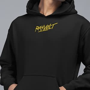 RAYVOLT – Hoodie with logo, yellow print