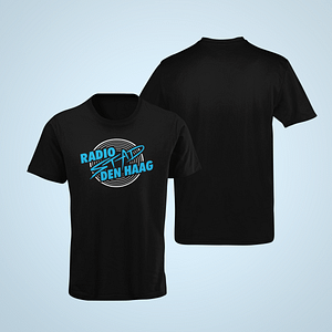 RSD – black T-shirt, vinyl with logo in cyan