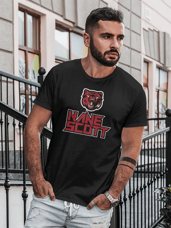 KANE SCOTT bear logo 4 colors on black t-shirt