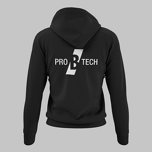PRO B TECH – Black hoody with large logo on the front and large on the backside