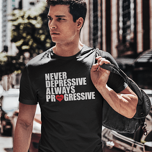 MNL – T-shirt black, ALWAYS PROGRESSIVE with white/red print