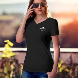 PRO B TECH – Black T-shirt women V-neck with logo on front