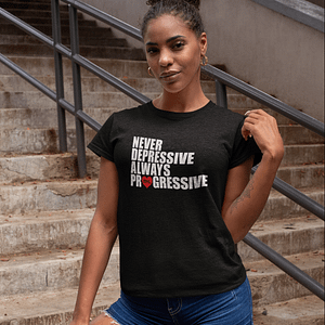 MNL – T-shirt black female, ALWAYS PROGRESSIVE with white/red print