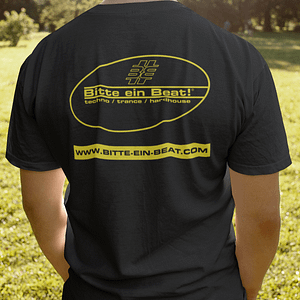 BITTE-EIN-BEAT! – T-shirt with outline logo, fluorescent yellow print