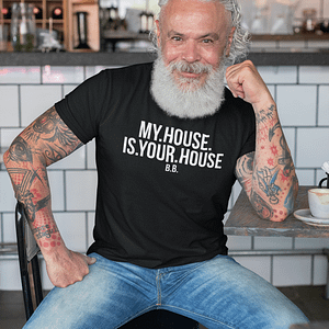 REMEMBER – T-shirt MY HOUSE IS YOUR HOUSE, white print
