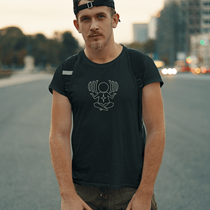 CHARLY LOWNOISE – T-shirt with outline logo, white print