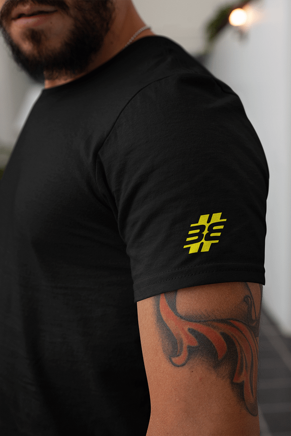 BITTE EIN BEAT t-shirt black SLEEVE fluor yellow