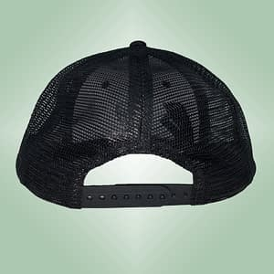 CHARLY LOWNOISE – Black snapback trucker cap – Logo embroidered in white