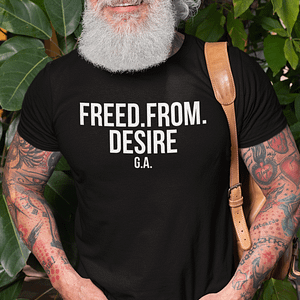 REMEMBER – T-shirt FREED FROM DESIRE, white print