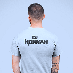 DJ Norman – T-shirt, silvergrey, headphone logo, black print