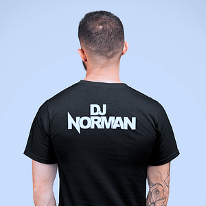 DJ Norman – T-shirt, black, headphone logo, white print