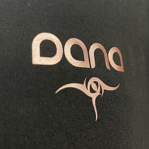 DANA – T-shirt V-neck with logo, rosegold print