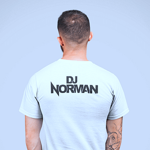 DJ Norman T-shirt, white, headphone logo, black print