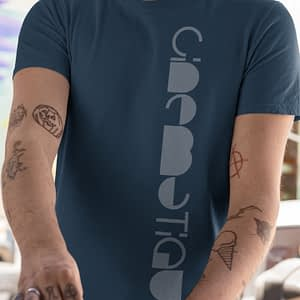 CINEMATIQUE – T-shirt with logo vertical, soft white print, available in different colors