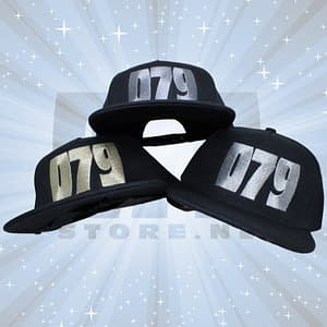 079 – Black snapback Cap, 079 embroidered