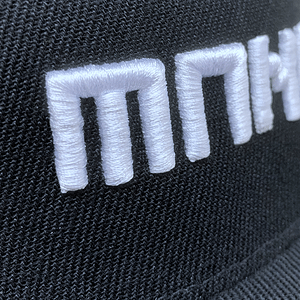 Manual Music – CAP snapback – White on black 3D embroidered