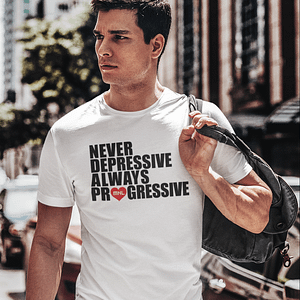 MNL – T-shirt white, ALWAYS PROGRESSIVE with black/red print