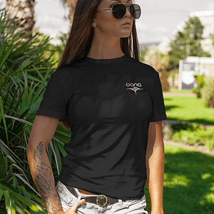 DANA – T-shirt women with logo, rosegold print