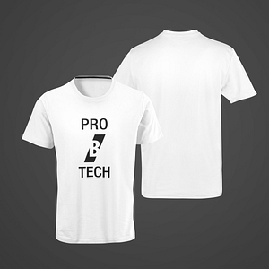 PRO B TECH – white T-shirt, with large vertical logo