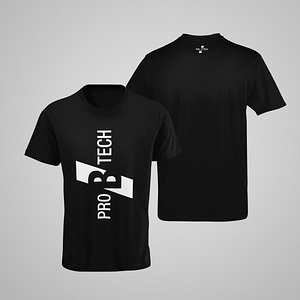 PRO B TECH – black T-shirt,  with large vertical logo