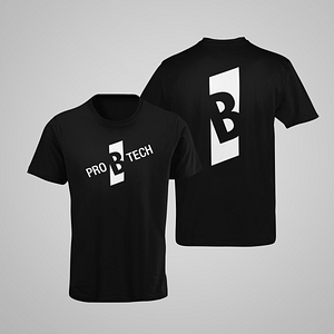 PRO B TECH – black T-shirt, with slanted logo