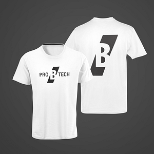 PRO B TECH – white T-shirt, with large B logo