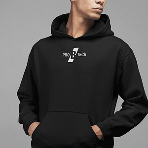 PRO B TECH – Black hoody with small logo on front and vertical on the backside